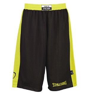 Spalding Reversible Short Sort/Gul 128 Teknisk vendbar shorts
