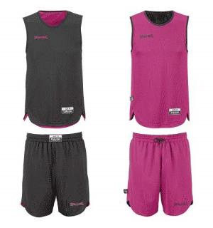 Spalding  Kids Set Sort/Rosa 116 Vendbar tosidig trøye og shorts